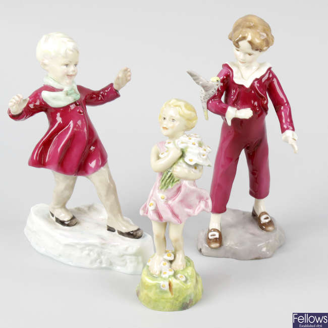 A selection of Royal Doulton and Royal Worcester figures, to include five figurines modelled after F.G. Doughty.