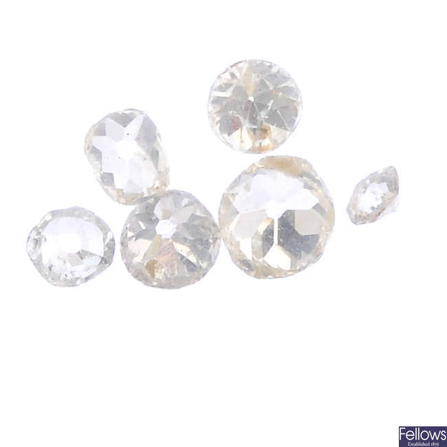 Eight vari-cut diamonds.