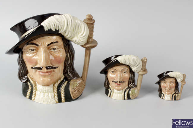 Ten assorted Royal Doulton 'Musketeers' character jugs.