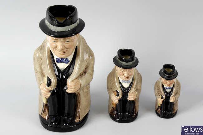 Six Royal Doulton 'Churchill' character jugs.
