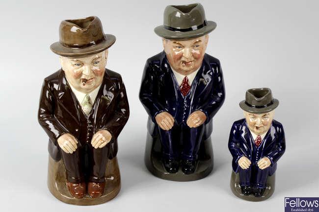 Three rare Royal Doulton 'Cliff Cornell' character jugs.