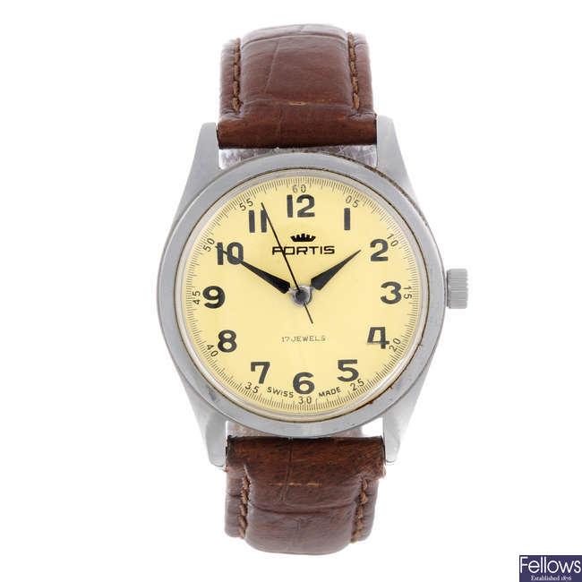 FORTIS - a gentleman's stainless steel wrist watch.