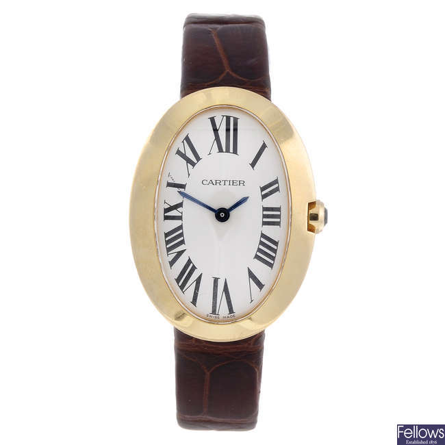 CARTIER - an 18ct yellow gold Baignoire wrist watch.