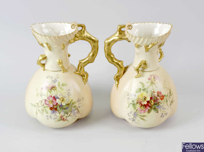 Four items of Royal Worcester blush ivory porcelain