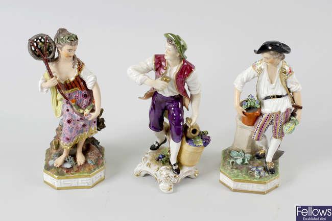 A group of five porcelain figures