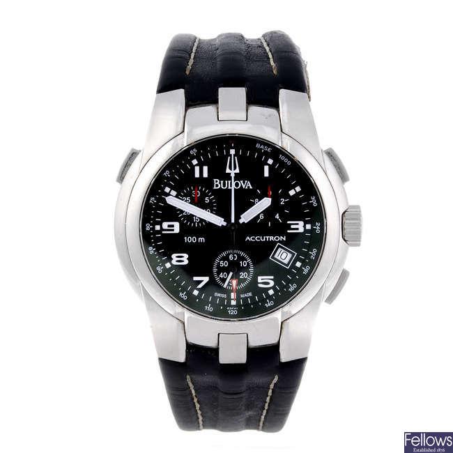 BULOVA - a gentleman's stainless steel Accutron chronograph wrist watch.