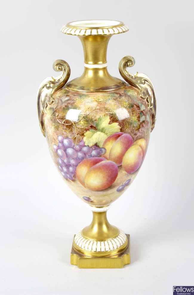 A fine Royal Worcester porcelain fruit-painted vase by Freeman