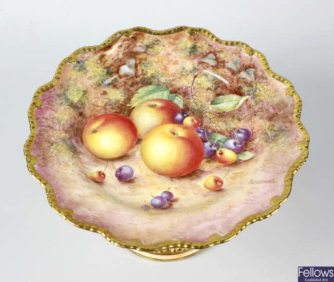 A Royal Worcester porcelain fruit-painted pedestal comport