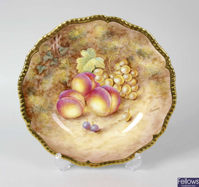 A Royal Worcester porcelain fruit-painted plate by Freeman