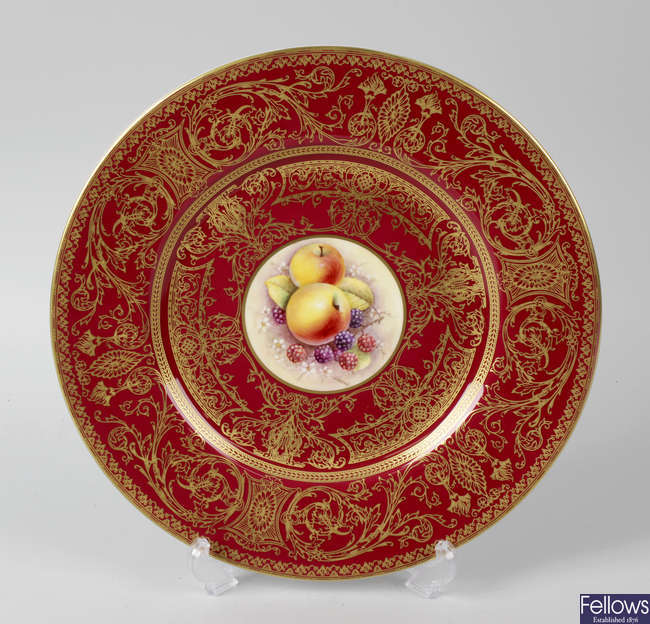A Royal Worcester porcelain fruit-painted plate by Reed
