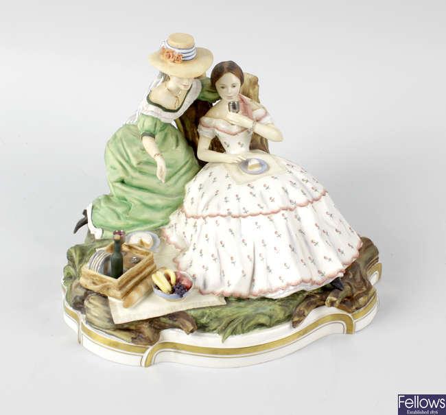 A Royal Worcester porcelain figure group, 'The Picnic'