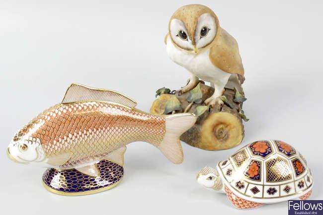 Three Royal Crown Derby porcelain animals