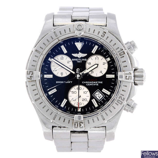 BREITLING - a gentleman's stainless steel Colt chronograph bracelet watch.