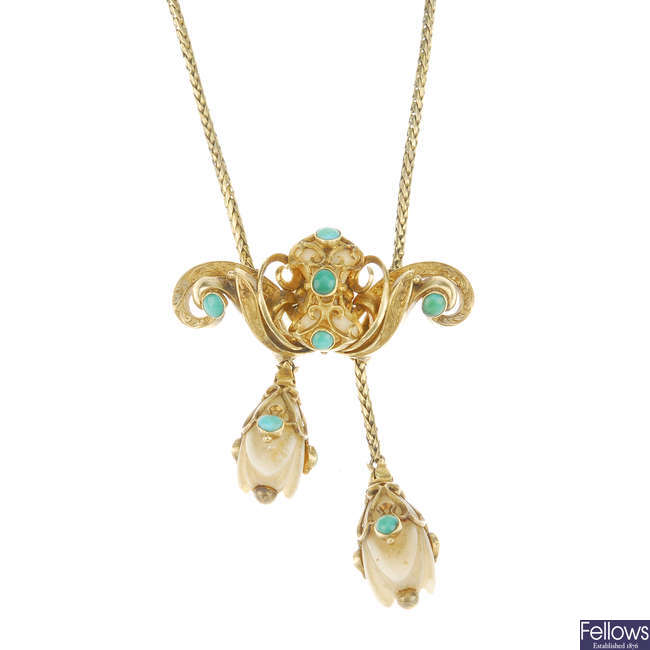 A mid Victorian gold, ivory and turquoise memorial necklace.