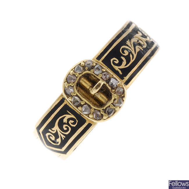 A late Victorian 18ct gold enamel and diamond hinged hair panel memorial ring.