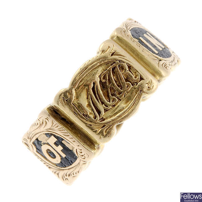 An early Victorian 18ct gold and enamel memorial ring.