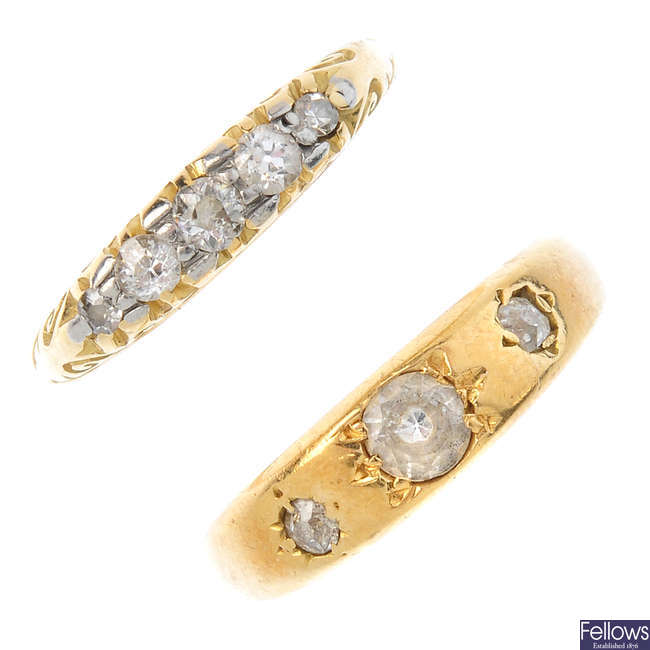 Two diamond and gem-set rings.