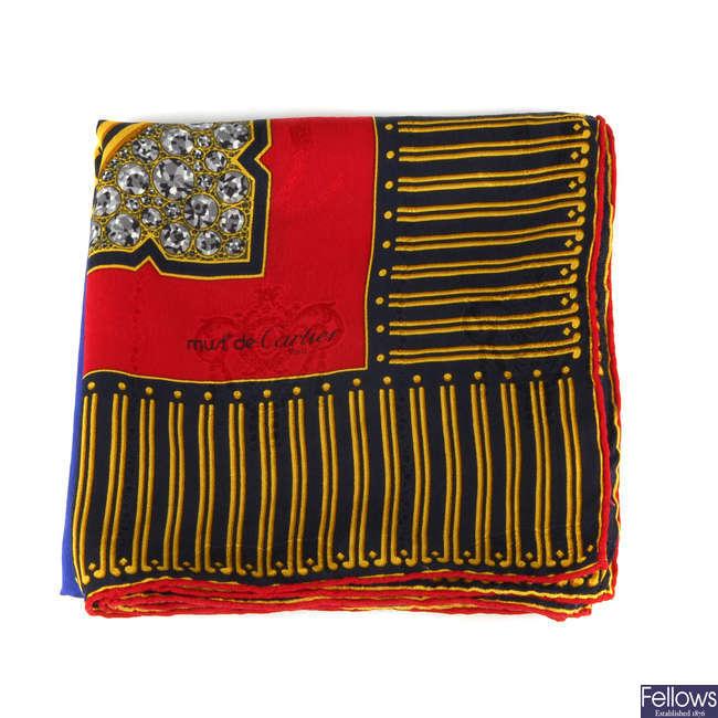 CARTIER - a vintage Must De Cartier jacquard silk scarf.