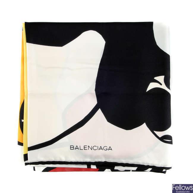 BALENCIAGA - a vintage silk scarf.