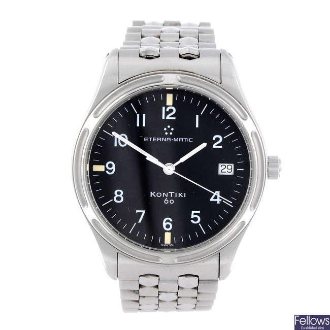 ETERNA - a gentleman's stainless steel Kontiki bracelet watch.