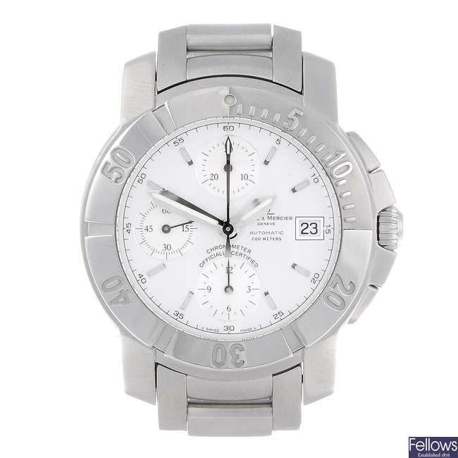 BAUME & MERCIER - a gentleman's stainless steel Capeland chronograph bracelet watch.