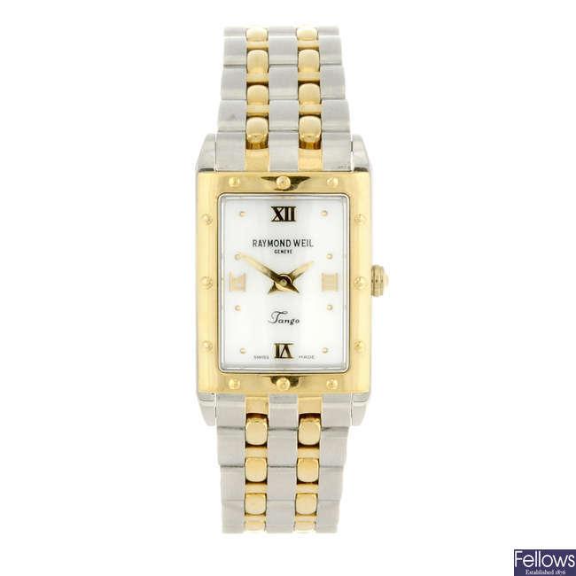 RAYMOND WEIL - a lady's bi-colour Tango bracelet watch.