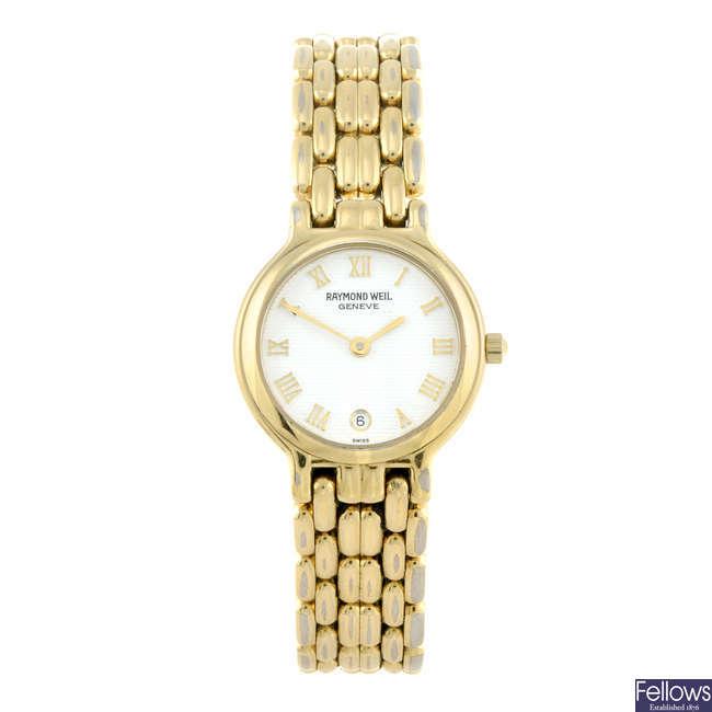 RAYMOND WEIL - a lady's gold plated bracelet watch.