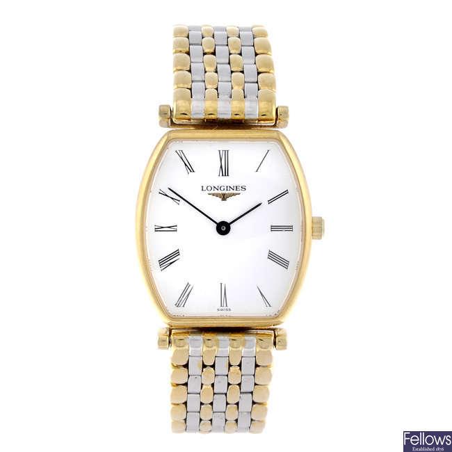 LONGINES - a lady's gold plated Les Grande Classique bracelet watch.