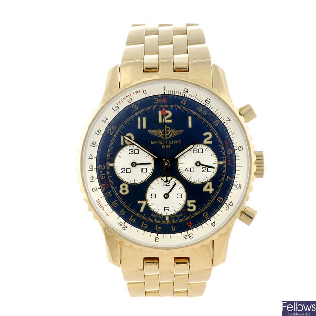 BREITLING - a gentleman's 18ct yellow gold Navitimer 92 chronograph bracelet watch.