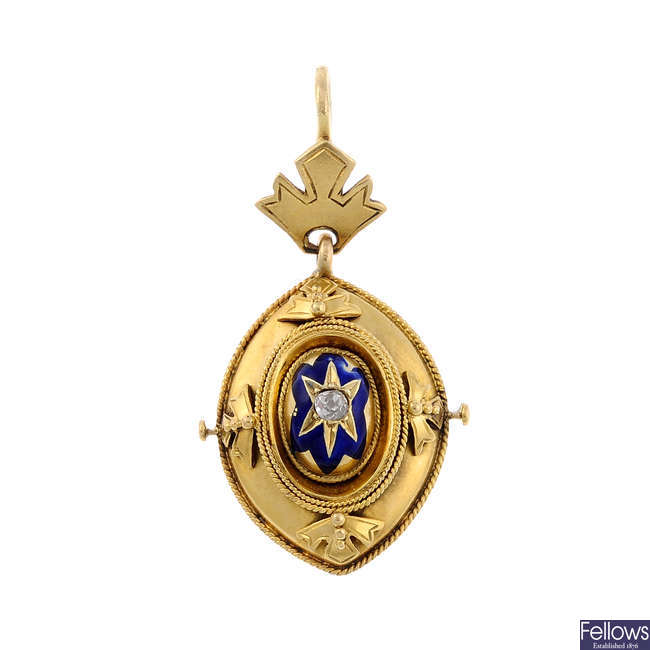 A late Victorian enamel and split pearl pendant.