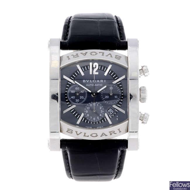 BULGARI - a gentleman's stainless steel Assioma chronograph wrist watch.