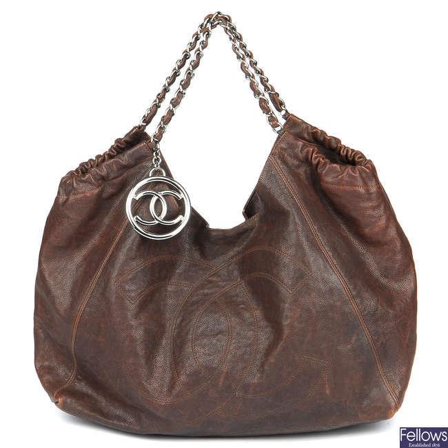 CHANEL - a brown Caviar Coco Cabas hobo handbag