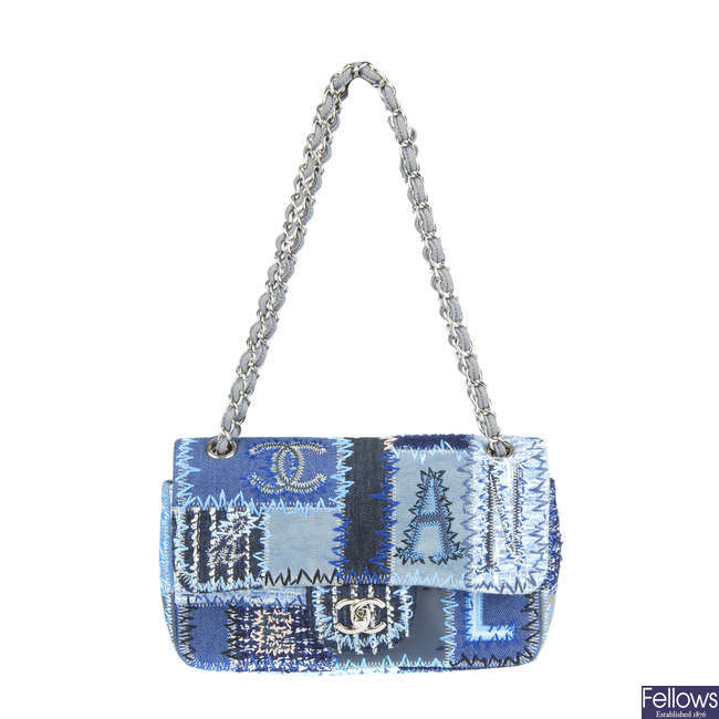 CHANEL - a denim patchwork flap handbag.