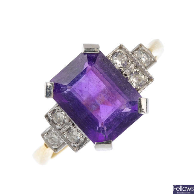 An 18ct gold amethyst and diamond ring.