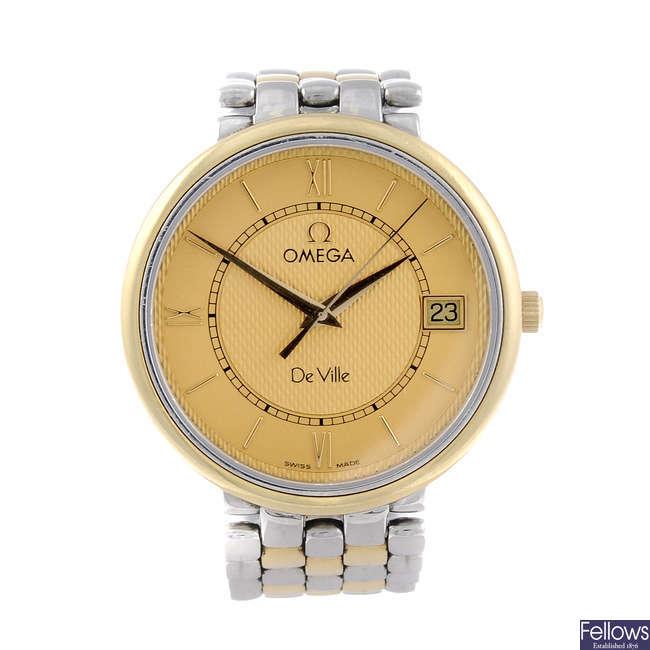 OMEGA - a gentleman's bi-colour De Ville bracelet watch together with another bi-colour Omega bracelet watch.