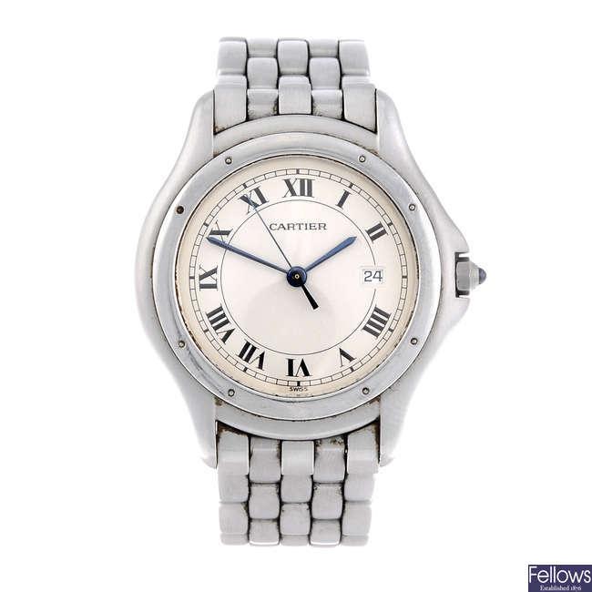 CARTIER - a stainless steel Cougar bracelet watch.