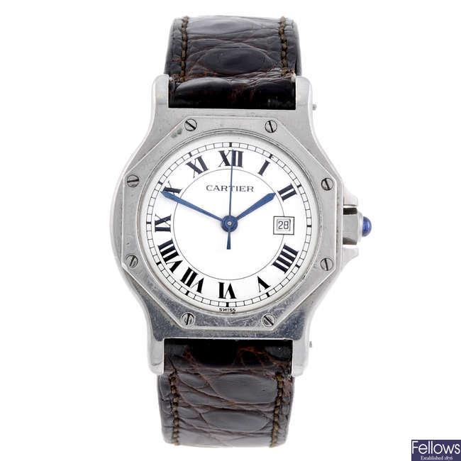 CARTIER - a stainless steel Santos wrist watch.