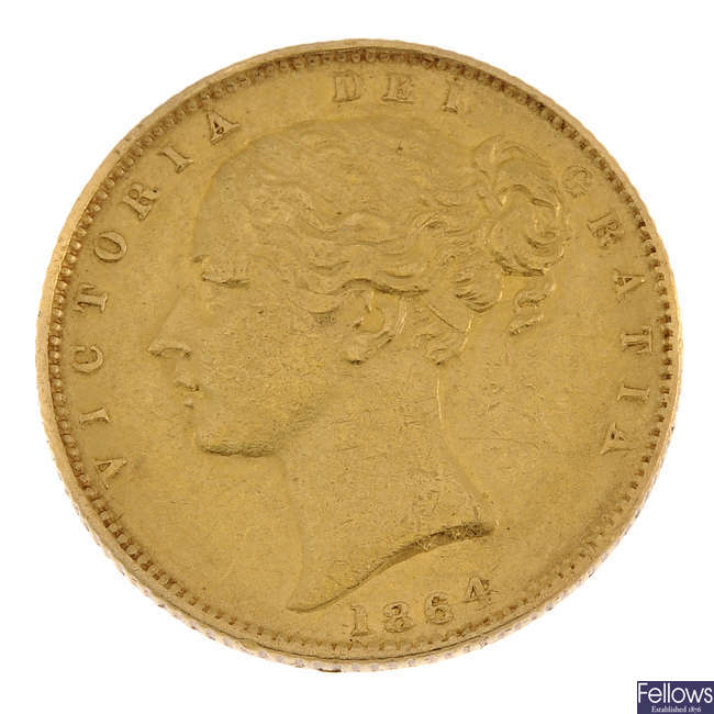 Victoria, Sovereign 1864, young head, rev. shield.