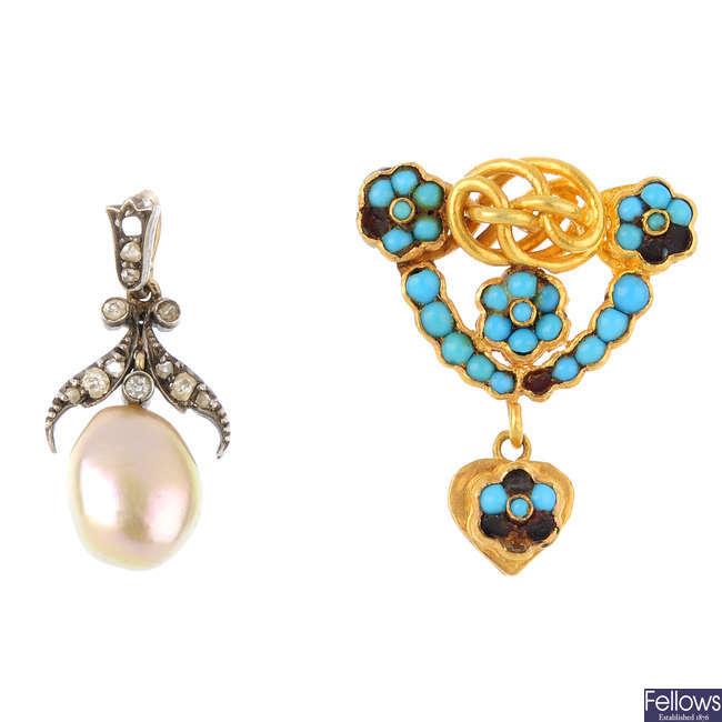 A gem-set pendant and paste brooch.