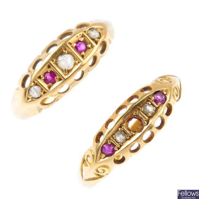 Two 18ct gold Edwardian diamond and gem-set rings.