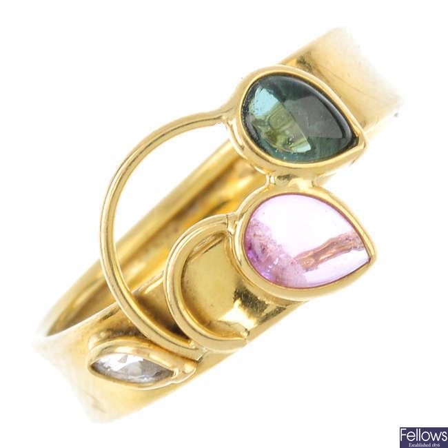 A gem-set ring.