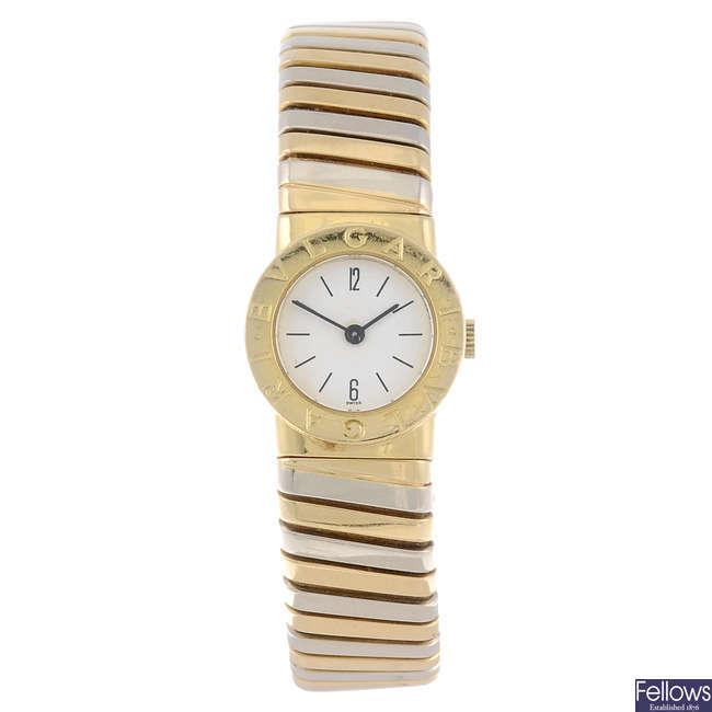 BULGARI - a lady's 18ct yellow gold Tubogas bracelet watch.