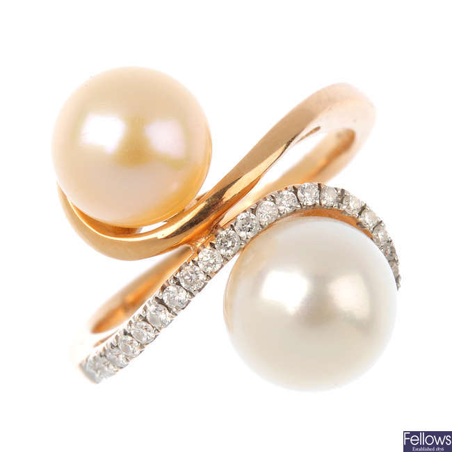 A cultured pearl and diamond dress ring.