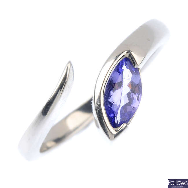 A 9ct gold tanzanite single-stone ring.