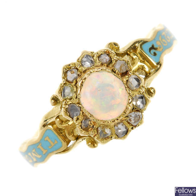A late Georgian gold opal and diamond ring.