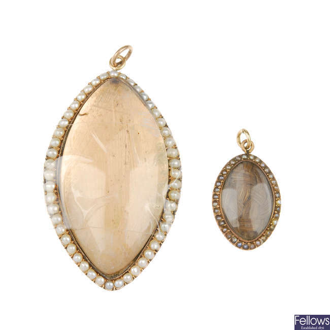 Two late Georgian gold and split pearl pendants.