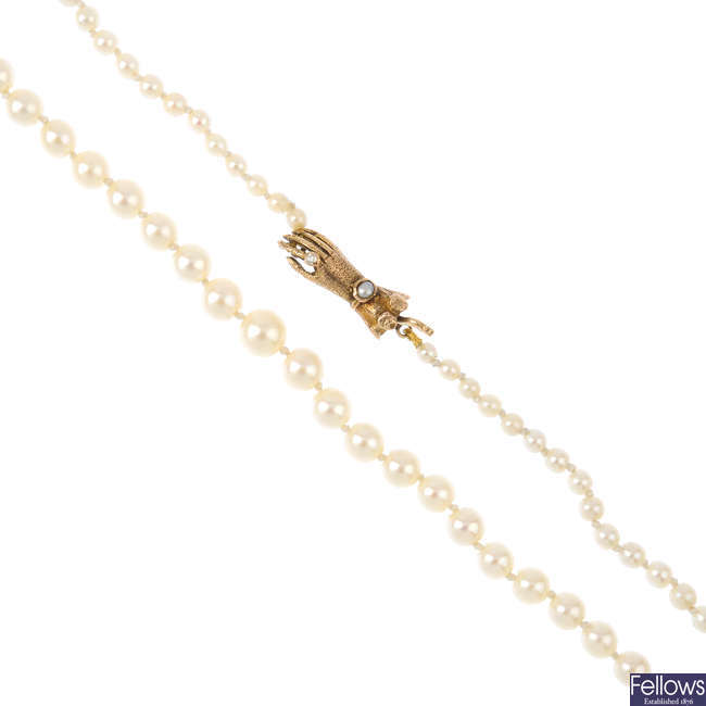 A cultured pearl single-strand necklace, with 9ct gold gem-set hand clasp.