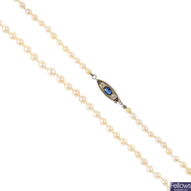 A cultured pearl necklace, with sapphire and diamond clasp.