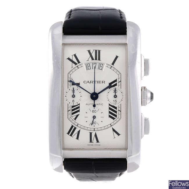 CARTIER - an 18ct white gold Tank Americaine XL chronograph wrist watch.