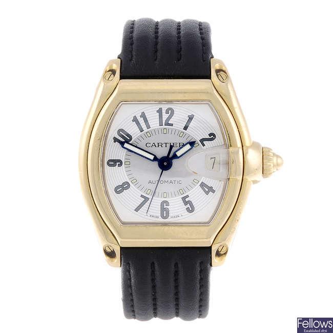 CARTIER - an 18ct yellow gold Roadster wrist watch.
